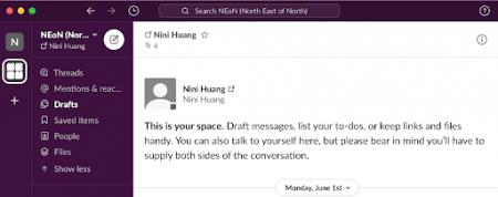 Screenshot of Slack online workspace.