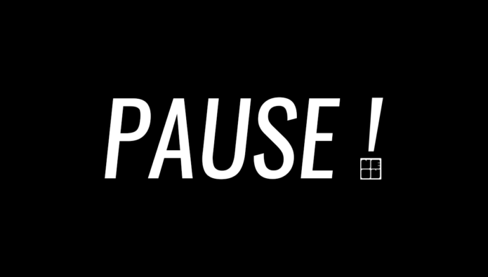 White text on black background reads: PAUSE! The dot of the exclamation mark is the NEoN logo in white.