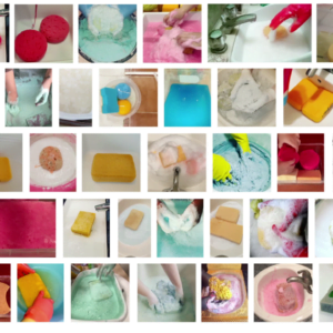 Collage image of 42 sponges and soapy suds. All in bright colours of pink, blue, and yellow.